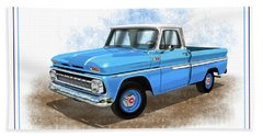 1960 - 1966 Chevrolet C10 Pickup Truck Blue And White Beach Towel