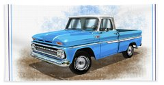 1960 - 1966 Chevrolet C10 Pickup Truck Blue And White With Rally Wheels Beach Towel