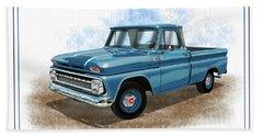 1960 - 1966 Chevrolet C10 Pickup Truck Dark Blue Beach Towel