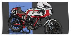 1974 Ducati 750ss Original Handmade Sketch Beach Towel