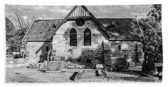 19th Century Sandstone Church In Black And White Beach Towel