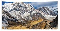 Annapurna South Peak In Nepal Beach Towel