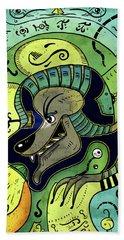 Beach Towel featuring the digital art Anubis by Sotuland Art