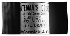 Antique Mccormick And Co Baltimore Md Bateman's Drops Opium Bottle Label - Black And White Beach Towel