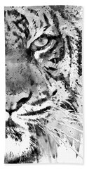 Black And White Half Faced Tiger Beach Towel