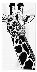 Giraffe - Ink Illustration Beach Towel