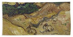 Landscape With Rabbits Beach Towel