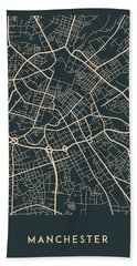 Manchester Map Beach Towel