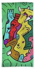 Beach Towel featuring the digital art Psychedelic Animals by Sotuland Art