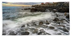 Beach Towel featuring the photograph Rising Tide At Portland Head by Rick Berk