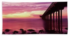 Silhouette Of A Pier In The Pacific Beach Towel