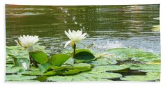 2 White Water Lilies Beach Sheet