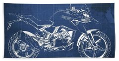 2017 Bmw G310gs Blueprint Original Artwork Vintage Blue Background Beach Towel