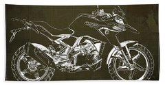 2017 Bmw G310gs Blueprint Original Artwork Vintage Brown Background Beach Towel