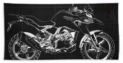 2017 Bmw G310gs Blueprint Original Artwork Vintage Dark Grey Background Beach Towel