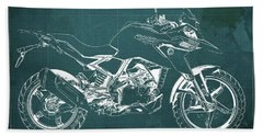 2017 Bmw G310gs Blueprint Original Artwork Vintage Green Background Beach Towel