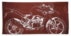2017 Bmw G310gs Blueprint Original Artwork Vintage Red Background Beach Towel