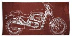 2018 Harley Davidson Street Rod, Vintage Red Background Beach Towel