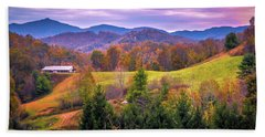 Beach Towel featuring the photograph Autumn Season And Sunset Over Boone North Carolina Landscapes by Alex Grichenko