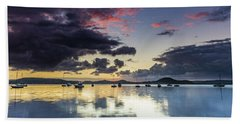 Overcast Morning On The Bay With Boats Beach Towel