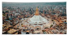 Stupa Temple Bodhnath Kathmandu, Nepal From Air October 12 2018 Beach Towel