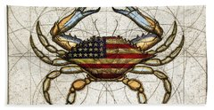 4th Of July Crab Beach Towel