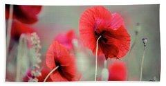 Red Corn Poppy Flowers Beach Towel