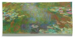 Beach Towel featuring the digital art Water Lily Pond by Claude Monet