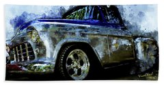 56 Chevro Pickup Dreaming Of Chrome Beach Sheet