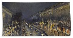 The Boulevard Montmartre At Night Beach Towel