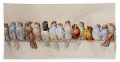 A Perch Of Birds  Beach Towel
