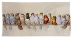 A Perch Of Birds  Beach Towel