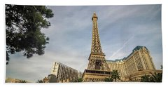 Beach Towel featuring the photograph View On The Replica Of Eiffel Tower At Paris Hotel   by Alex Grichenko