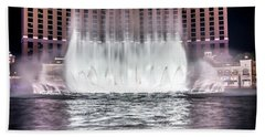 Beach Towel featuring the photograph World Famous Fountain Water Show In Las Vegas Nevada by Alex Grichenko