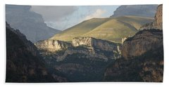 Beach Towel featuring the photograph A Dash Of Light In The Canyon Anisclo by Stephen Taylor