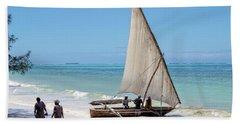 A Dhow In Zanzibar Beach Towel