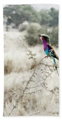A Lilac Breasted Roller Sings, Desaturated Beach Towel