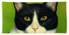 Beach Towel featuring the painting A Serious Cat by James W Johnson