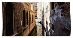 A Shadow In The Venetian Noon Narrow Canal Beach Towel