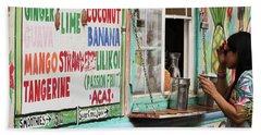 A Smoothie Truck At A Roadside Fruit Stand, Maui, Hawaii Beach Towel