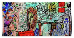 Beach Towel featuring the mixed media A Story Waiting To Be Told by Mimulux patricia No
