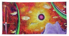 A Stunning Tropical Surrealist Sunset Ocean Painting A World Awaits By Madart Beach Towel