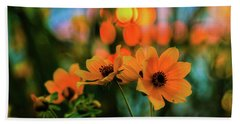 Sunflower Bokeh Sunset Beach Towel