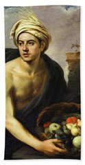 A Young Man With A Basket Of Fruit, 1650 Beach Towel