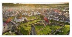 Aberystwyth Castle From The Air At Dawn Beach Towel