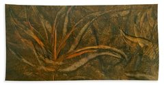 Abstract Brown/orange Floral In Encaustic Beach Towel
