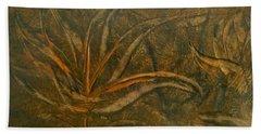 Abstract Brown/orange Floral In Encaustic Beach Towel