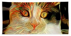 Beach Towel featuring the digital art Abstract Calico Cat by Don Northup