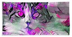 Abstract Calico Cat Purple Glass Beach Towel