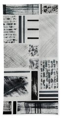 Beach Towel featuring the painting Abstract Collage by Karen Fleschler